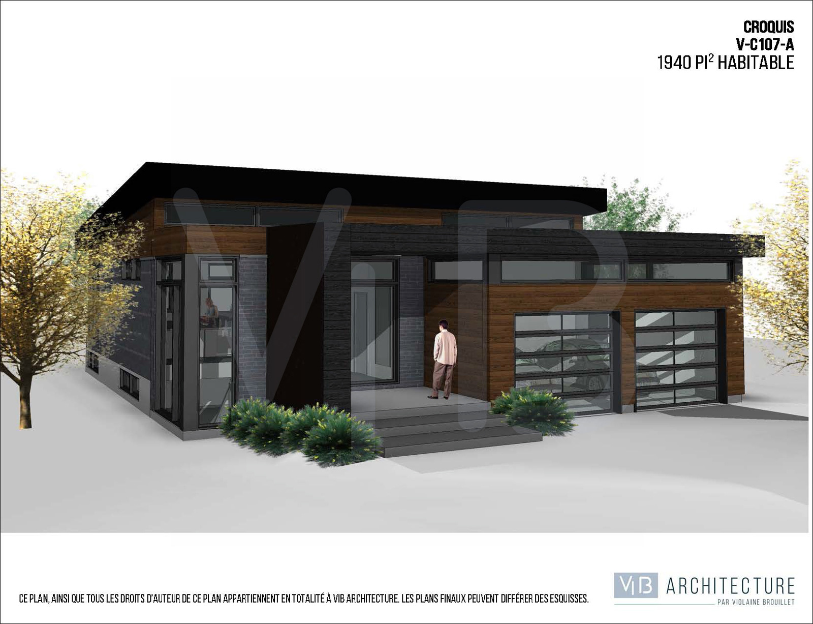 Service personnalis de plans de maison vib architecture for Plan maison plain pied avec garage double
